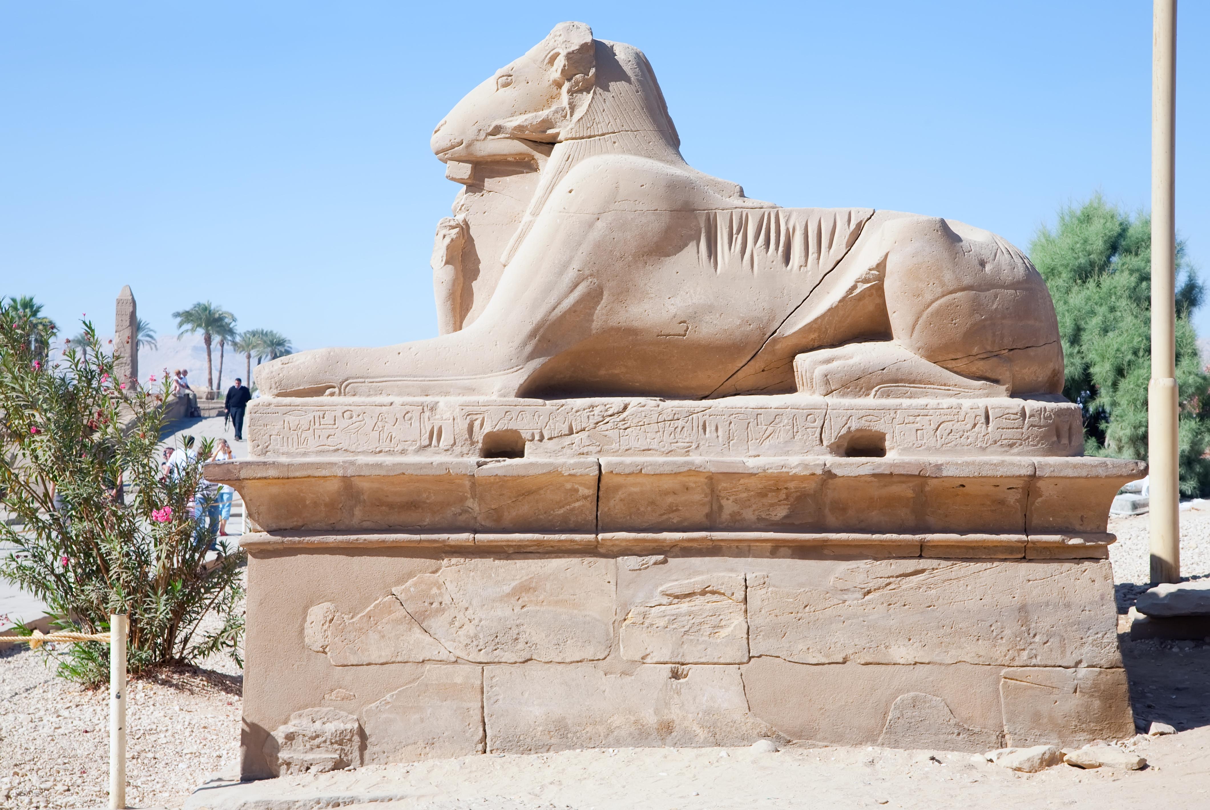 Ram-headed sphinxes at Karnak temple