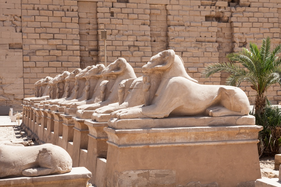Sphinxes Statue In Karnak Temple